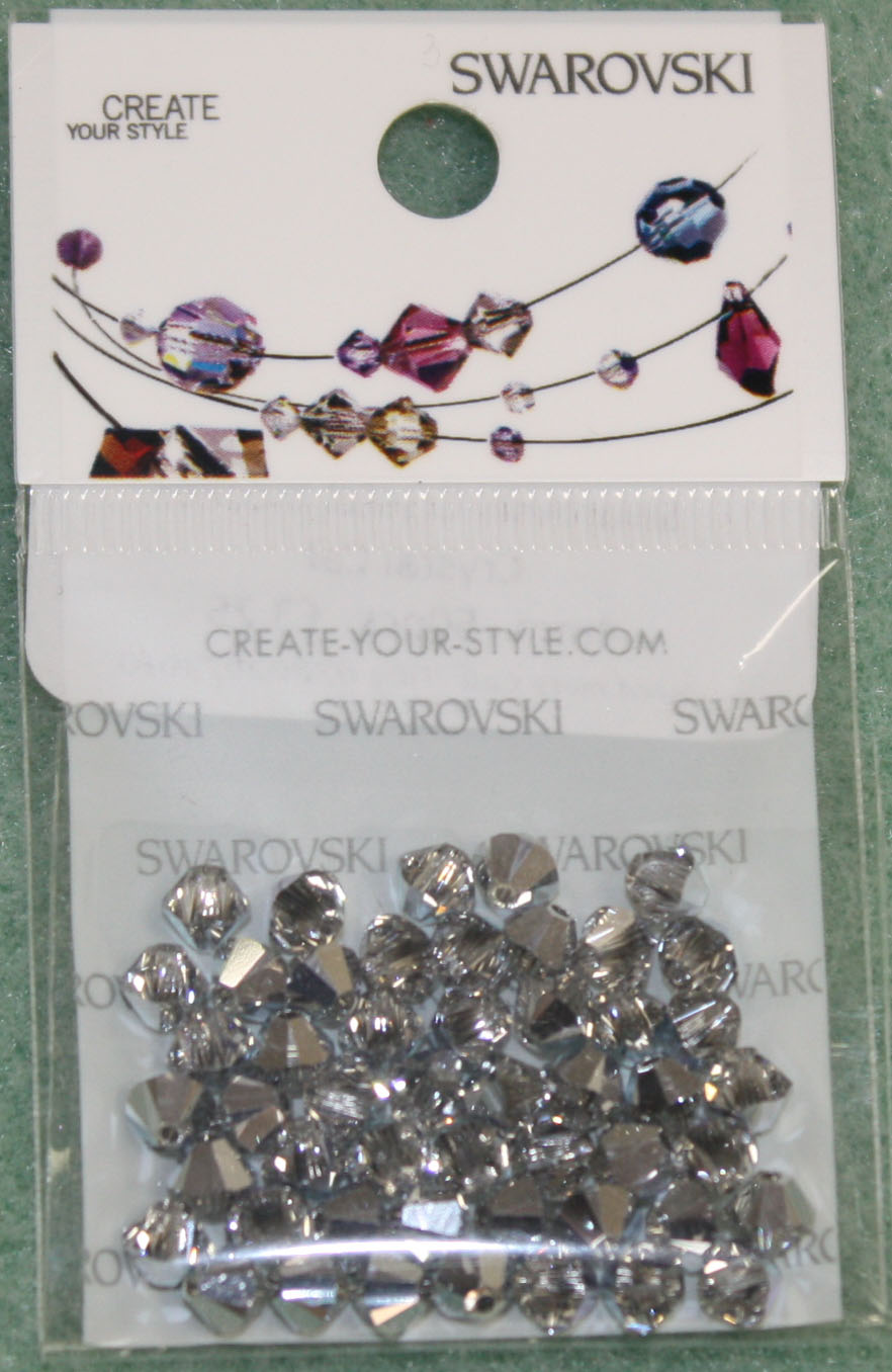 Swarovski Crystal Bicone Comet Argent Light (001 CAL)per 3mm - Click Image to Close